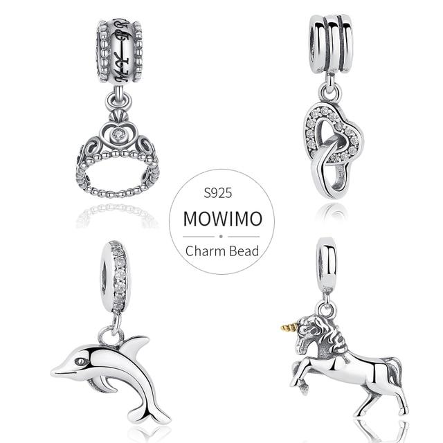 قلادة متدلية من الفضة الإسترليني 925 من MOWIMO حقيقية مرصعة بخرز من الزركون متعددة الأشكال ملائمة سوار فضي أصلي للسيدات مجوهرات