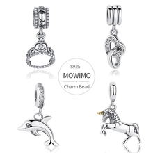 MOWIMO אמיתי 925 סטרלינג כסף משתלשל קסמי רב סגנון זירקון חרוז Fit מקורי כסף צמיד תליון עבור תכשיטי נשים