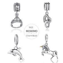 Mowimo real 925 prata esterlina dangles encantos multi estilo zircão grânulo caber pulseira de prata original pingente para jóias femininas