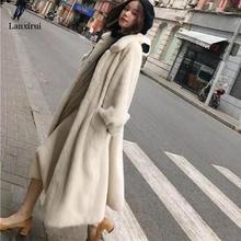 شتاء جديد الفراء ملابس خارجية الإناث حجم كبير لون الصلبة معطف الفرو الطويل الراقية الدافئة فرو منك سترة معطف المرأة سترة