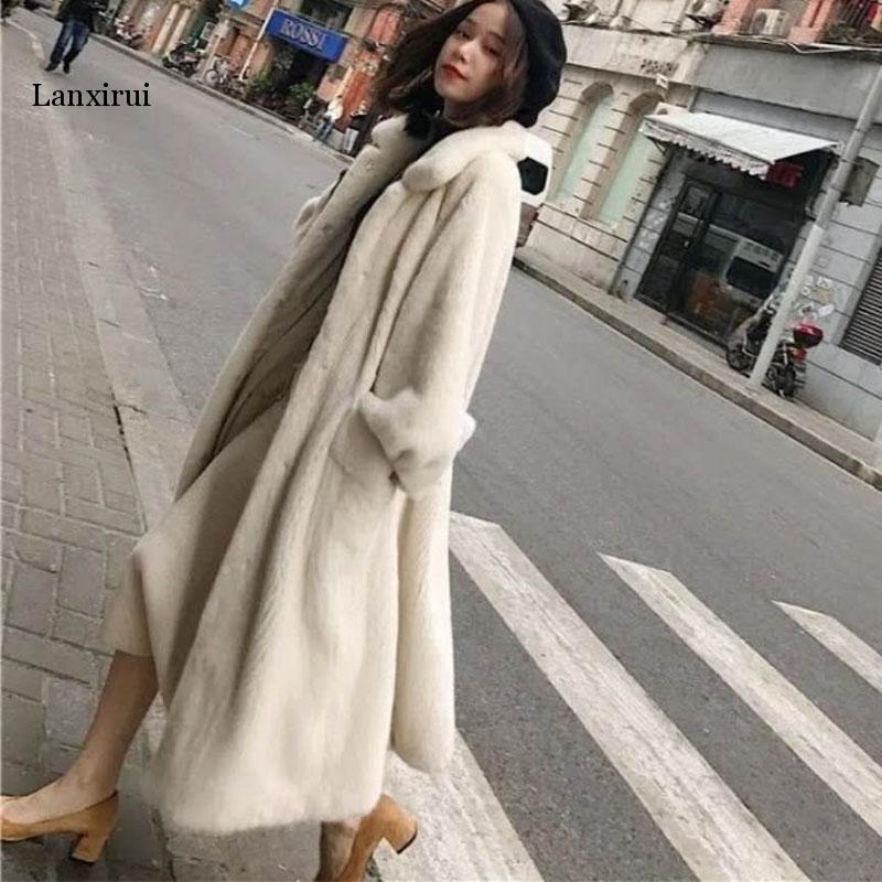 Winter New Fur Outerwear Female Fashion Plus Size Solid Color Long Fur Coat High-end Warm Mink Fur Jacket Coat Women Parka