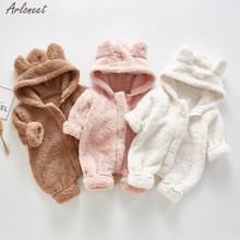 Infant Baby Girls Boys Bear Ear Zip Thick Warm Snowsuit Hoodie Coat Baby Jumpsuit Children Cothing Suit 2019 NEW(China)