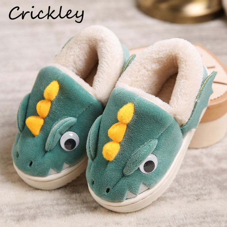 Winter Children Slippers Cartoon Dinosaur Shape Suede Warm Shoes For 2-8 Years Boys Girls Indoor Floor Non Slip Kids Slippers
