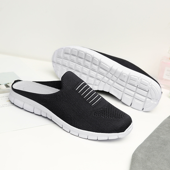 Women Shoes Flats Mules Casual Slippers Breathable Mesh Soft Shoes Walking Outdoor Slipper Female Lazy Shoes Plus Size