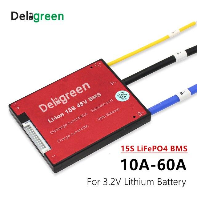 Аккумулятор 15S 25A 35A 45A 60A PCM/PCB/BMS для аккумулятора 48 В LiFePo4, аккумулятор для электрического велосипеда, скутера и инструментов