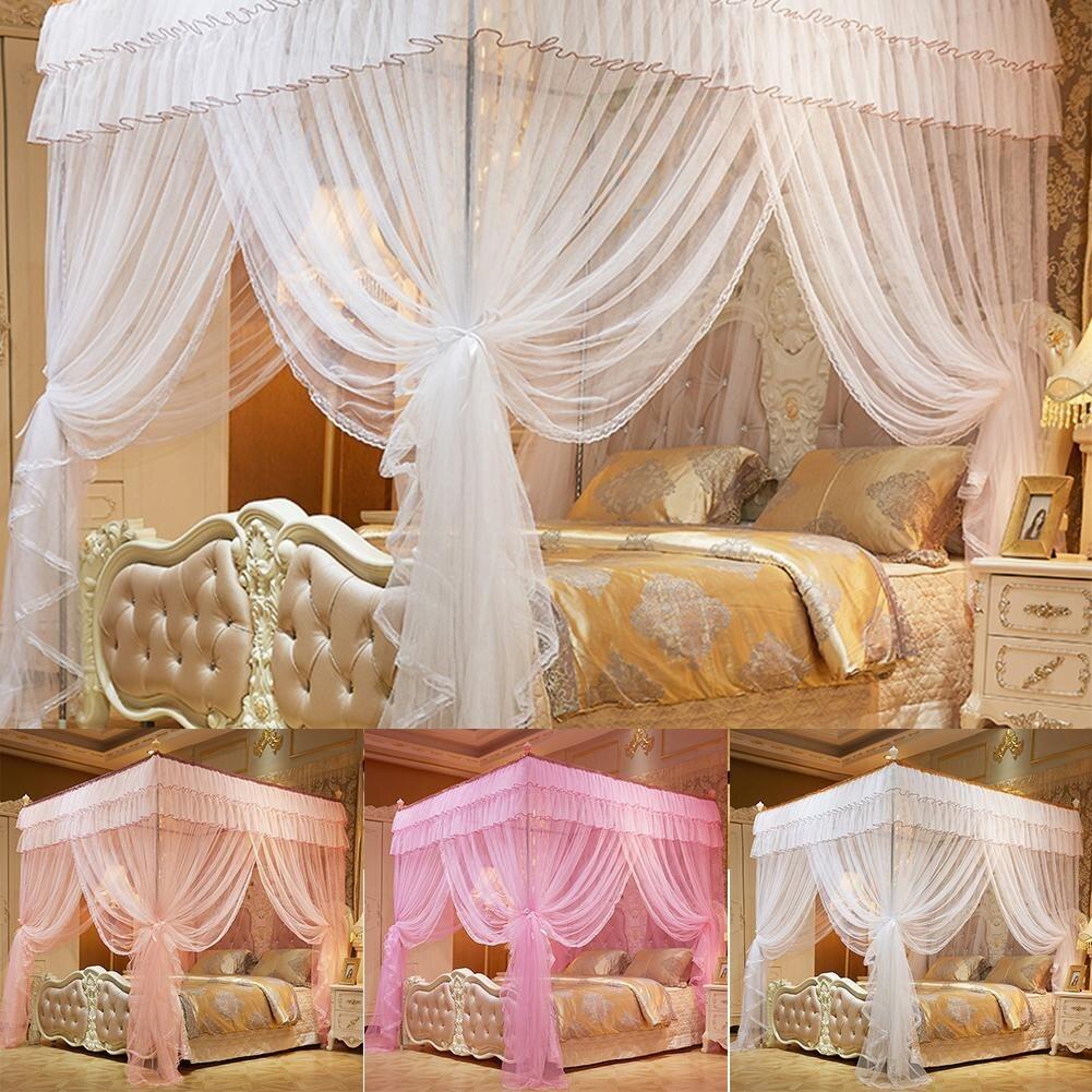 moustiquaire de literie rose pour lit queen baldaquin tente de lit queen a quatre coins rideau de longueur au sol 1 5 2 m 4 affiches