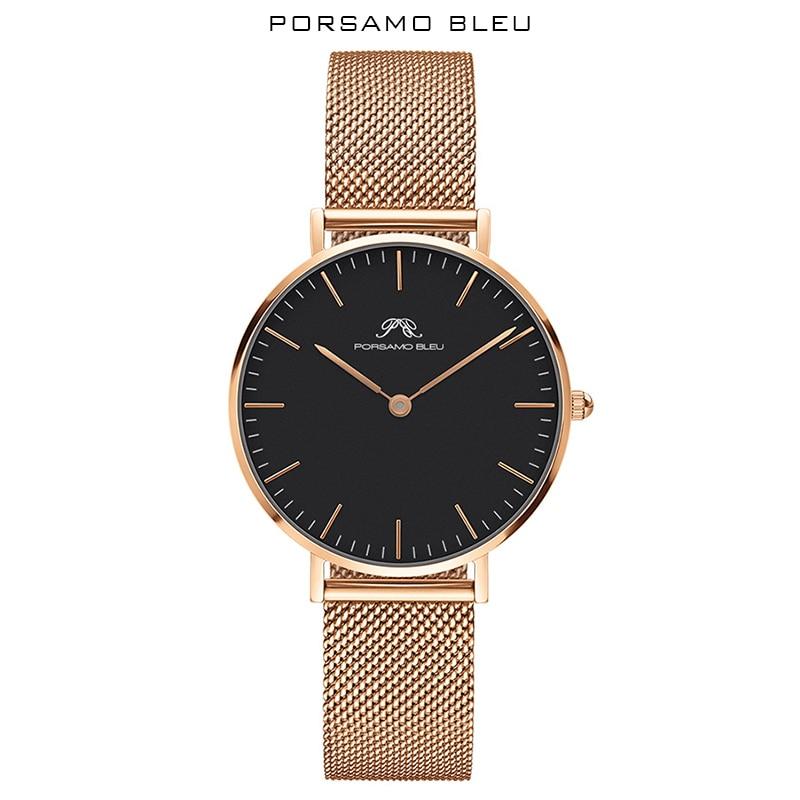 Women's Watch Movement Bleu Daniel Wellington Popular Brand Quartz Porsamo with Japanese