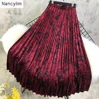 Retro abstract Flower Print Velvet Pleated Skirt with Elastic Waist Women Autumn Winter Long Skirt New Ladies Maxi Skirt