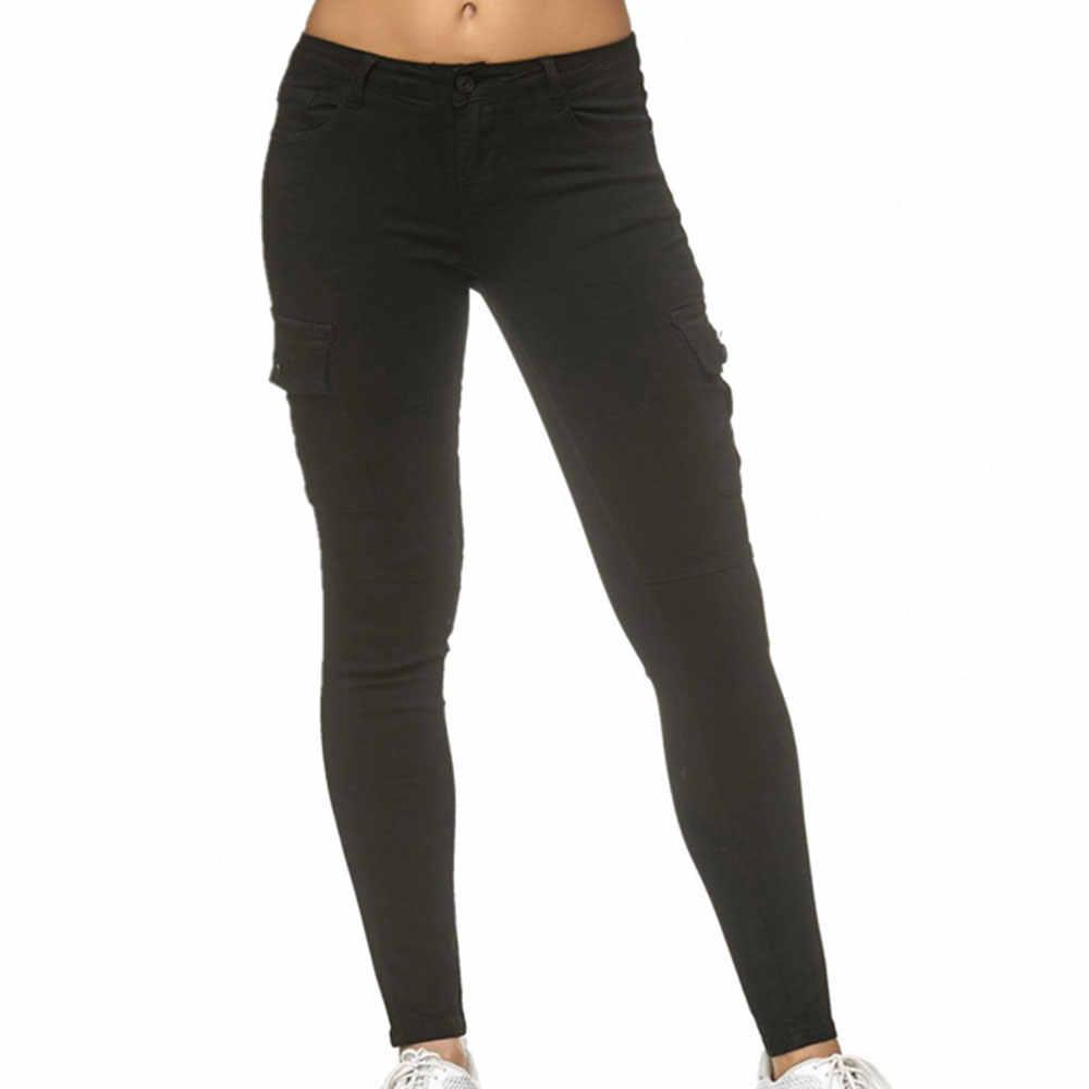 LITTHING 2019 秋の女性カジュアルファッションソリッドデニムパンツ弾性ウエストストレートズボンタイトなデニムジーンズレディース