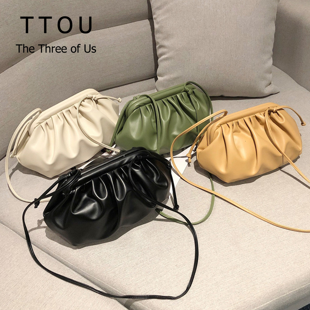 Fashion Cloud-wrapped Soft PU Leather Small Shoulder Bag Slant Dumpling Bag Handbag Day Clutches Bags Messenger Crossbody Bag