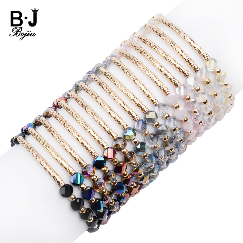 BOJIU Handmade Crystal Beads Customized Bracelets For Women Adjustable Gold Copper Tube Lady Bracelet Jewelry Dropshipping BC339
