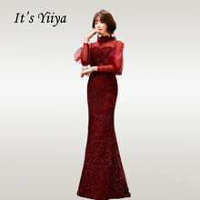 It'sYiiya Evening Dress Burgundy Trumpet Dresses Women Party Night Shining Lantern Sleeve Long Plus Size Formal Gowns E700 цена