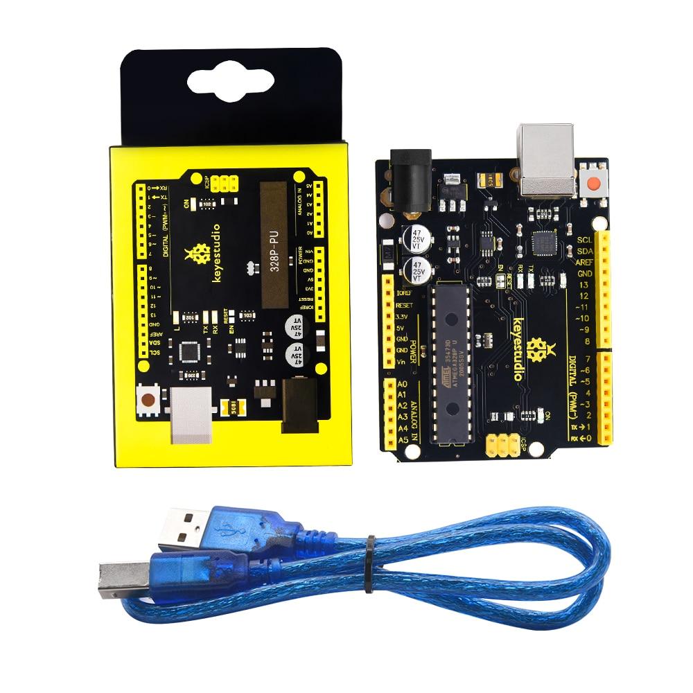 Keyestudio V4.0 Development Board W/USB Circuito Integrato di Serie CP2102 + Cavo USB Compatibile Con Arduino Uno R3