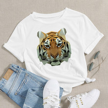 Aesthetic Round Neck T Shirt Animals Tiger Graphic New Women T-shirt Design Sleeve Personality Creative Breathable T Shirt(China)