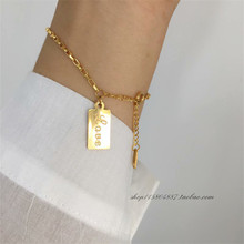 YUN RUO Simple Love Letter Gold Bracelet Woman Birthday Gift Fashion 316L Titainum Steel Jewelry Yellow Gold Color Never Fade цена 2017