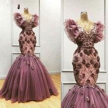Zarif mor Mermaid akşam elbise el yapımı çiçekler V boyun aplike arapça örgün balo elbise artı boyutu Custom Made