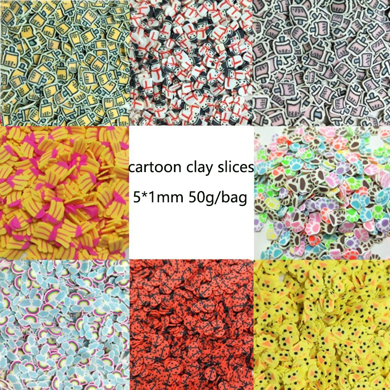 50g/lot Fimo Slices Duck Pearl Milk Tea Banana Slices Polymer Clay Sprinkles For Crafts DIY Making Slim Nail Arts Decoration 5mm