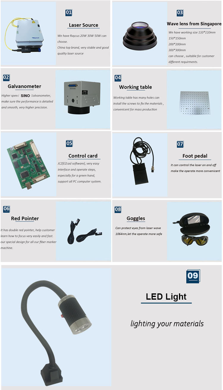 Fiber Laser Marking Machine With LED Light And Control Card For Rings Bracelet Jewelry