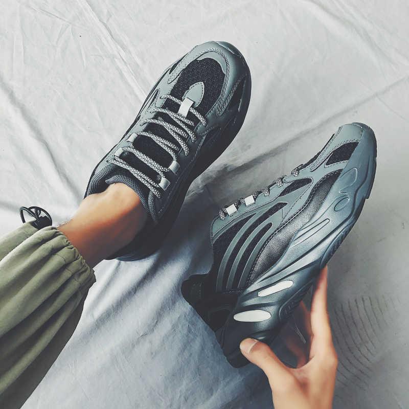 Erkekler rahat ayakkabılar baba Sneakers erkekler platformu Flats marka yansıtıcı spor ayakkabı Tenis sepeti eğitmenler Chaussure Zapatillas Hombre