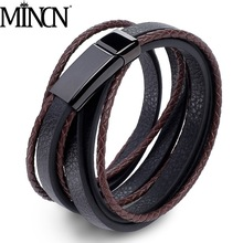 MINCN multi-layer leather mens stainless steel bracelet Japan and South Korea simple jewelry woven rope chain