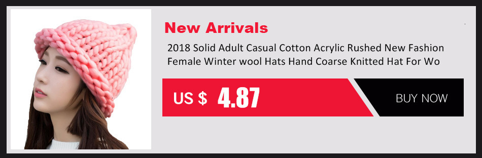 Simple girl Casual Cotton Acrylic Rushed New Fashion Female Winter wool Hats Hand Coarse Knitted Hat For Women Beanies 34