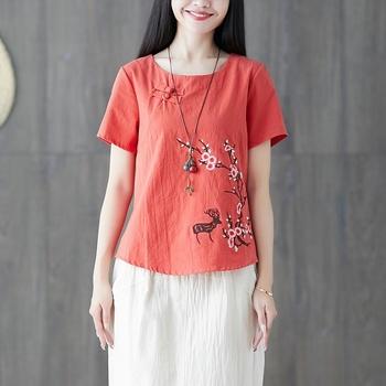 Panie chiński topy kobiety 2020 lato tradycyjna chińska odzież haftować rocznika T Shirt chiński styl odzież kobiety 11792 tanie i dobre opinie Tangslady COTTON Linen CN (pochodzenie) WOMEN Suknem
