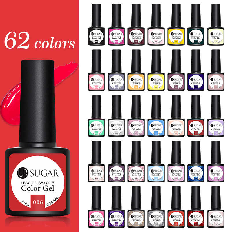 UR Gula Kuku Gel Polandia Kualitas Tinggi Nail Art Salon Tips 60 Hot Sale Color 7.5 Ml Rendam Off Organik UV LED Nail Gel Varnish