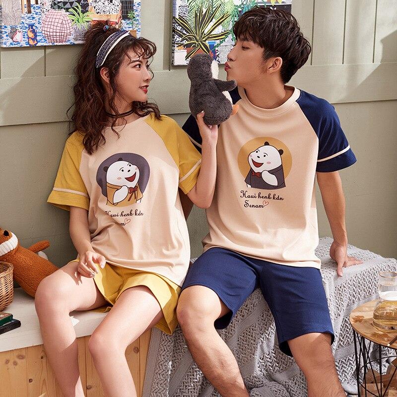 D5815 # Women's D7815 # Men's 2019 Short Sleeve Couples 6535 Fabric Casual Pajamas Homewear Set