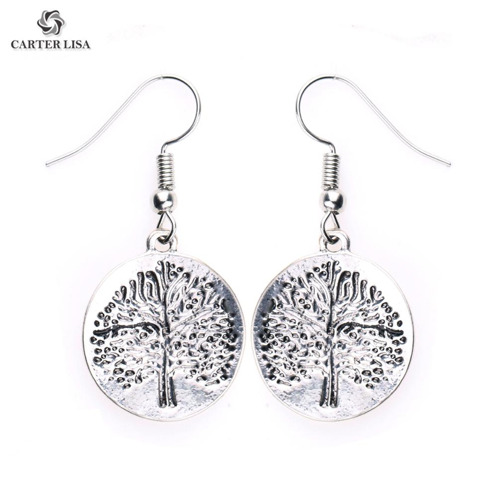 CARTER LISA Women 2019 Trend Round Tree Of Life Charm Earrings Silver Jewelry Metal Alloy Plated Plant Dangle Earrings For Gifts