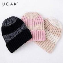 Ucak/брендовая шапка в полоску НОВАЯ Осень зима чистая шерсть