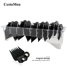 CestoMen 10pcs Hair Clipper Limit Comb Magnet Hair Clipper Attachment Comb Professional Hair Cutting Guide Comb Set With Holder multi shaped hair comb set 10pcs