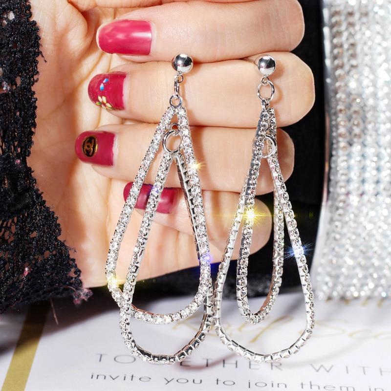 Oversized Elegant Cubic Zirconia Drop Earrings For Women High Quality Simple Long Earrings Fashion Jewelry Gifts 2020