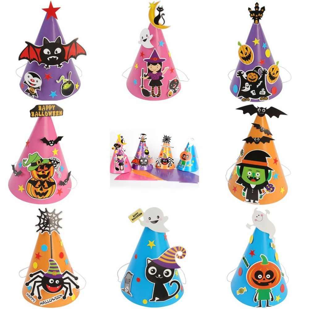 Baru Anak Laki-laki Anak Perempuan Anak-anak Anak-anak DIY Halloween Topi Penyihir Topi Penyihir Bintang Mewah Penyihir Topi Kostum Halloween Gratis Drop Pengiriman