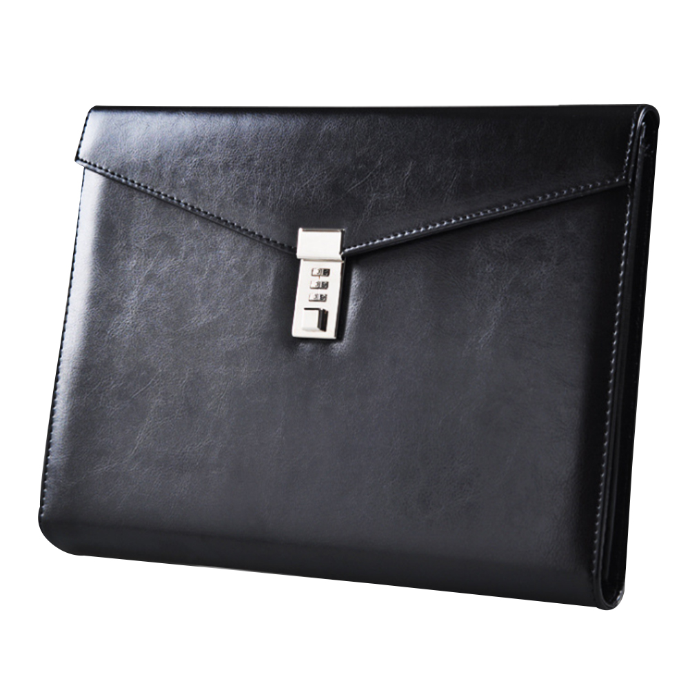 A4 PU Leather Invoice Organzier Document File Folder With Password Lock Briefcase Pen Holder Office Cards Bag Portable Fashion