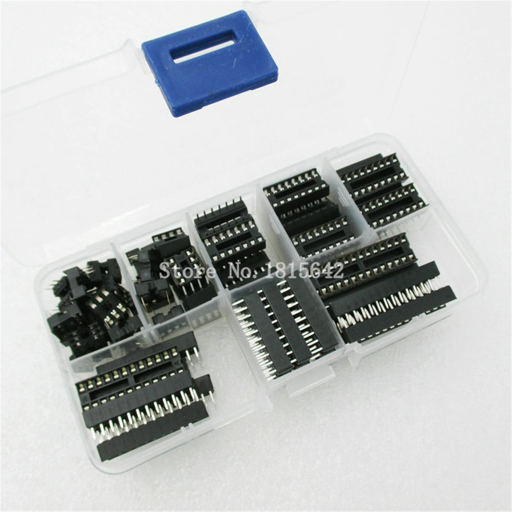 66pcs DIP IC Sockets Solder Type Socket Kit Electronic DIY Assortment Kit 6/8/14/16/18/20/24/28 Pins Module Connectors