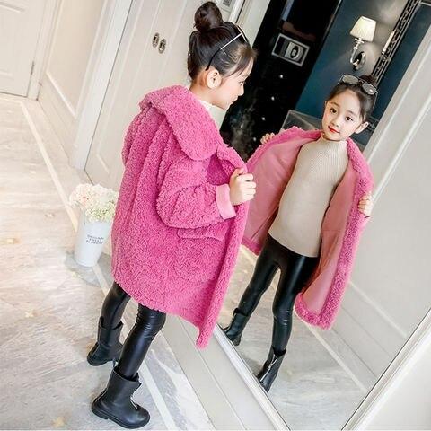 meninas inverno jaqueta de pele do falso