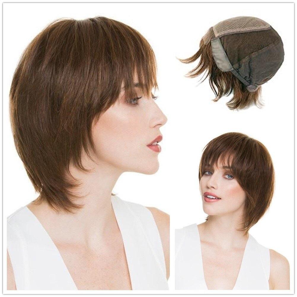 Hstonir White Wig For Women Lace Front Kosher Perruque Brown Blond Sheitel European Remy Hair Judio Pruik G016