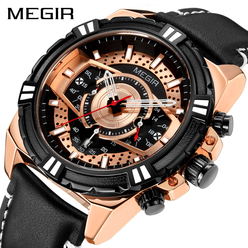 New Watches Men Luxury Brand MEGIR Chronograph Men Sports Watches Waterproof Leather Quartz Men's Watch Relogio Masculino