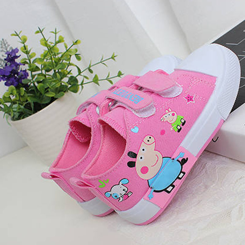 Peppa Pig Children Casual Shoes Girl Canvas Shoes Kids Denim Sneakers Toddler Summer Shoes Infant Baby Cartoon Hook&Loop Shoes