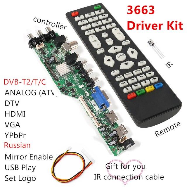 3663 New Digital Signal DVB C DVB T2 DVB T Universal LCD TV Controller Driver Board UPGRADE 3463A Russian USB play LUA63A82