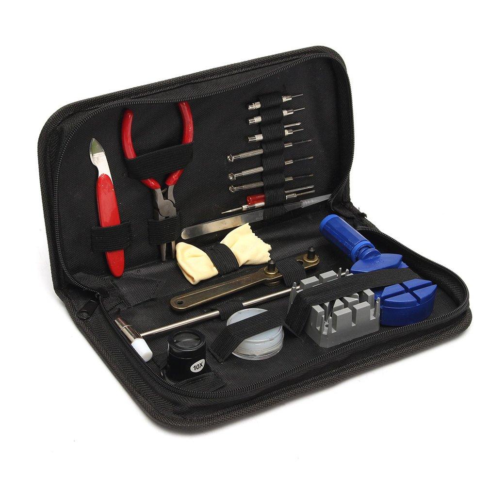 19pcs/set Watch Repair Tool Kit Watch Clock Opener Link Remover Spring Bar Tool Set With Black Water Resistant Storage Bag