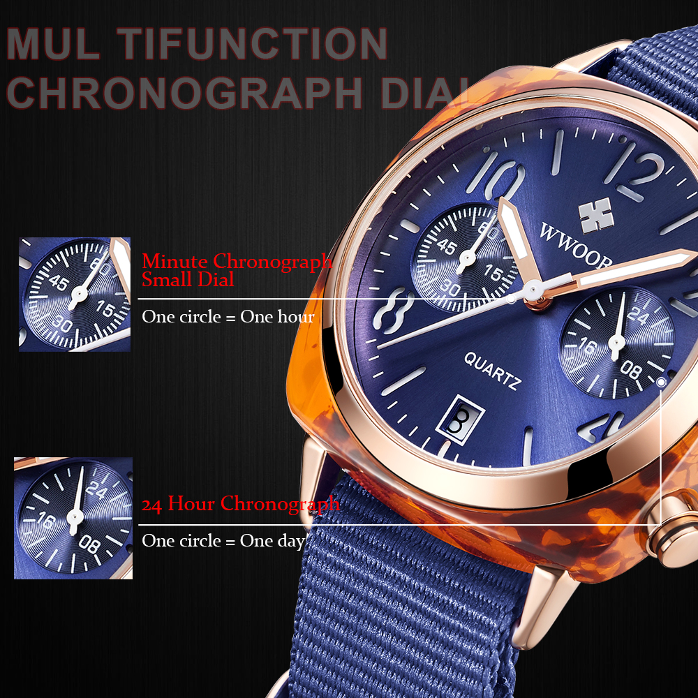 Image 5 - Top Luxury Brand WWOOR New Lady Nylon watch three eye fashion watch factory waterproof Quartz female watches women montre hommeWomens Watches   -