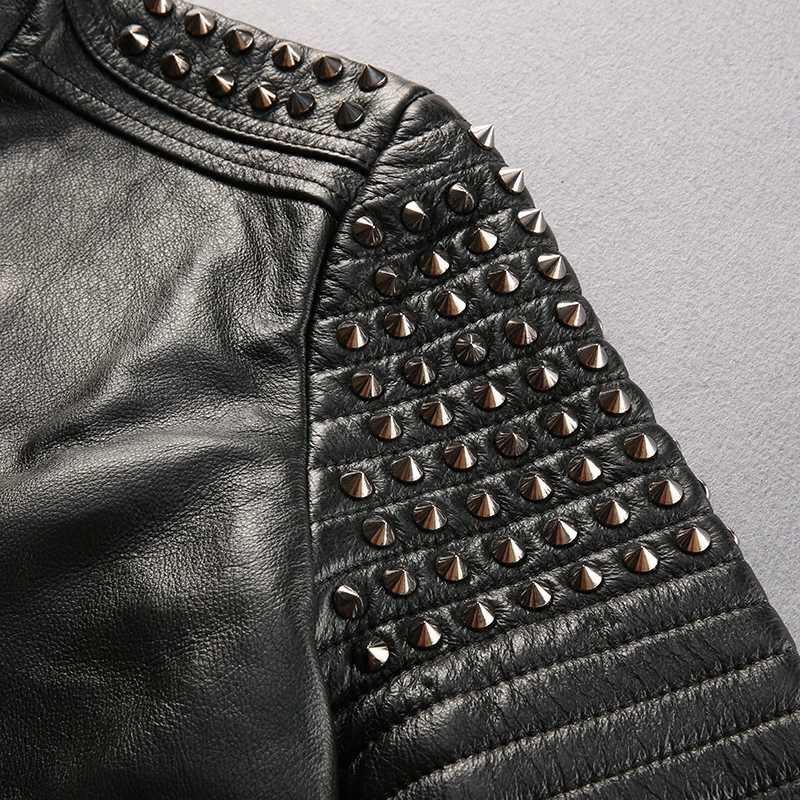1665 прочитайте описание! Мужская куртка Азиатского размера с заклепками в стиле панк, мотоциклетная куртка из коровьей кожи, стильная куртка из натуральной воловьей кожи