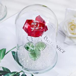 Image 2 - H & D אדום השתמר קריסטל רוז פרח ב זכוכית כיפת קישוט אספנות מלאכת מתנת חג אהבת יום נישואים יום הולדת