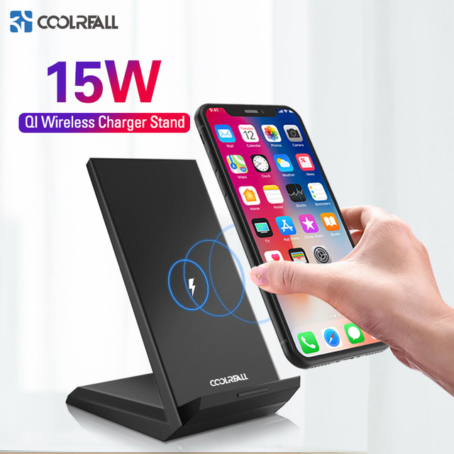 Coolreall Qi Wireless Charger Stand for iPhone X XS 8 XR Samsung S9 S10 S8 S10E 15W Fast Wireless Charging Station Phone Charger 1