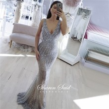 Prom-Dresses Evening-Gowns Graduation Gray Beaded Crystal Mermaid Backless Long Sexy