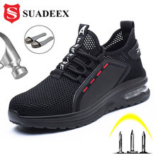 SUADEEX Work Shoes Breathable Steel Toe Boots Lightweight Air-cushion Safety Wor
