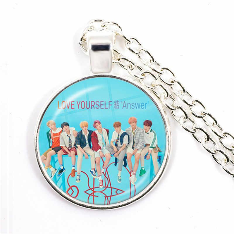 Armee Bombe Kpop 25mm Glas Cabochon Anhänger Halskette BT21 Schmuck K-pop Jungen Zubehör Für Bigbang Fans Album liebe Selbst