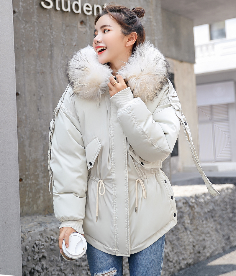 Korean Style 2019 Winter Jacket Women Cotton Padded Hooded With Fur Fe_B1_12