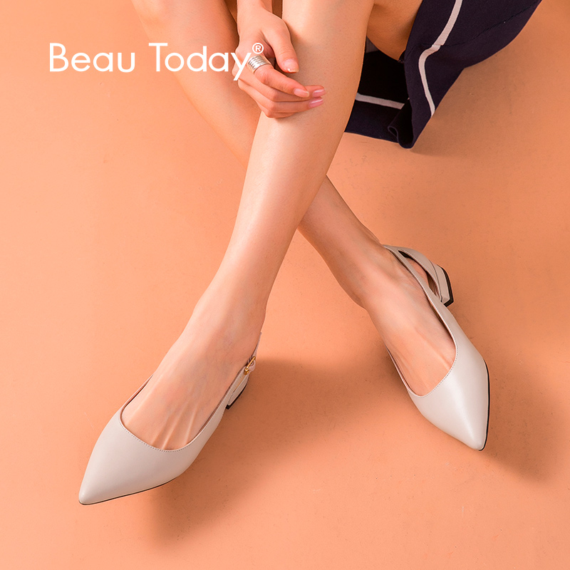 BeauToday Flat Sandals Women Calfskin Genuine Leather Pointed Toe Buckle Strap Cover Heel Summer Lady Shoes Handmade 30067